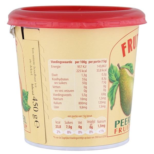 Frutesse Fruitstroop Peer Appel achterkant