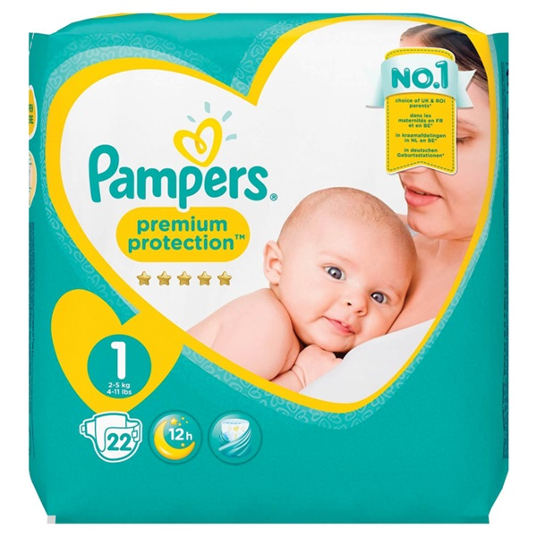 Pampers premium protection luiers newborn carry pack voorkant