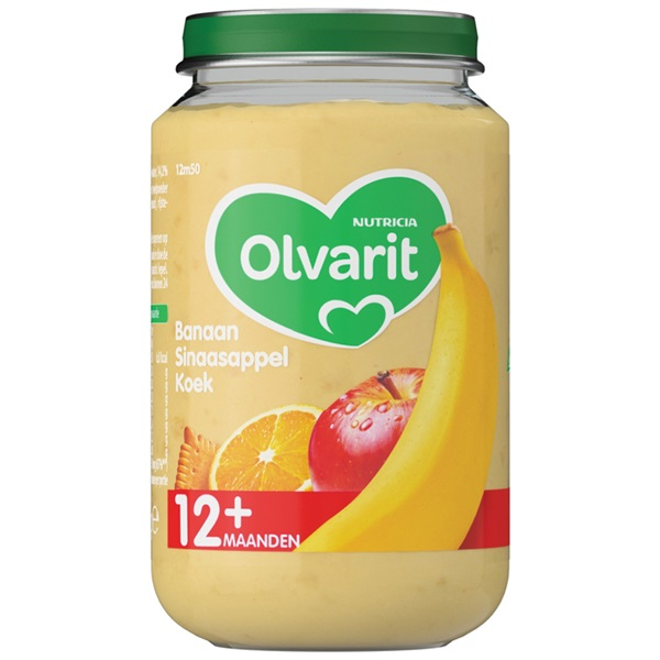 Olvarit Baby/Peuter Fruithapje Banaan, Sinaasappel En Koek voorkant