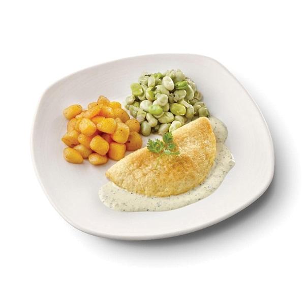 Culivers (131) omelet in dragonsaus, tuinbonen met ui en tijm en gebakken krieltjes zoutarm voorkant