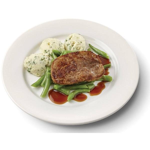 Culivers (11) varkenslapje met jus, sperziebonen en aardappelpuree met tuinkruiden gluten- en lactosevrij voorkant