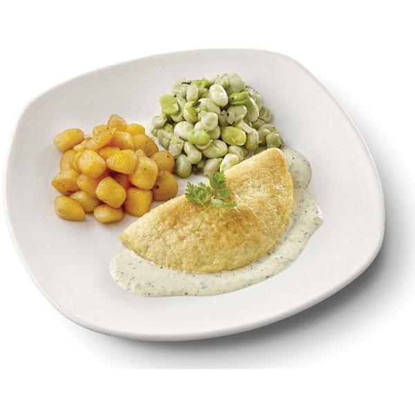 Culivers (20) omelet in dragonsaus, tuinbonen met ui en tijm en gebakken krieltjes gluten- en lactosevrij voorkant