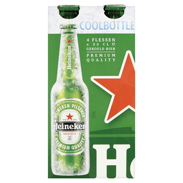 Heineken Pils Coolbottle 4-pack voorkant