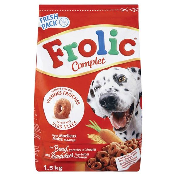 Frolic Hondenvoer Complet Met Rundvlees, Worteltjes En Granen voorkant