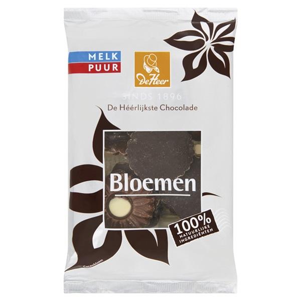 De Heer Chocolade Chocolade Bloemen Melk/Puur voorkant