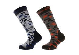 SINNER SKI SOCKS CAMO - DOUBLE PACK KINDEREN