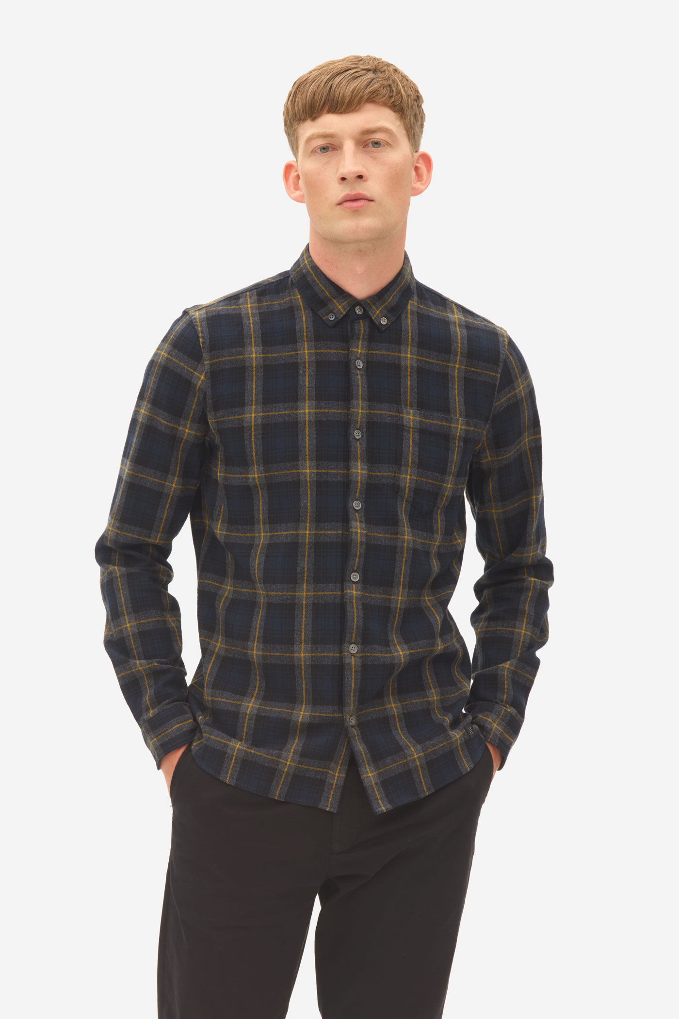 Nowadays Brushed Check Button Down Heren