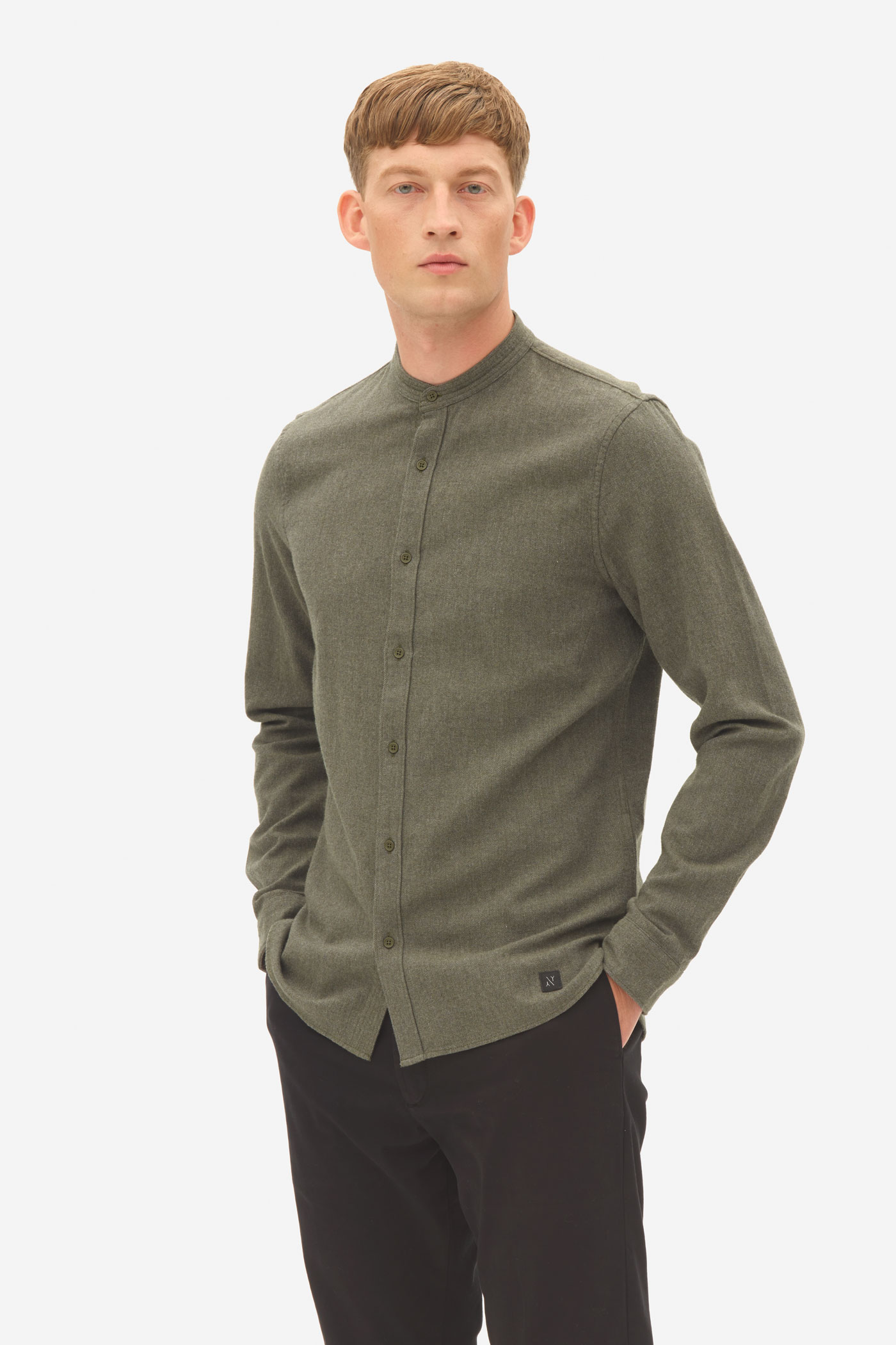 Nowadays Brushed Twill Grandad Shirt Heren