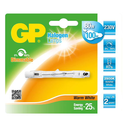 GP Halogeenlamp R7S 80W 78mm