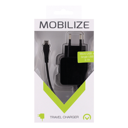 Mobilize Thuislader Micro-USB +Extra USB 3100mA Zwart 1m