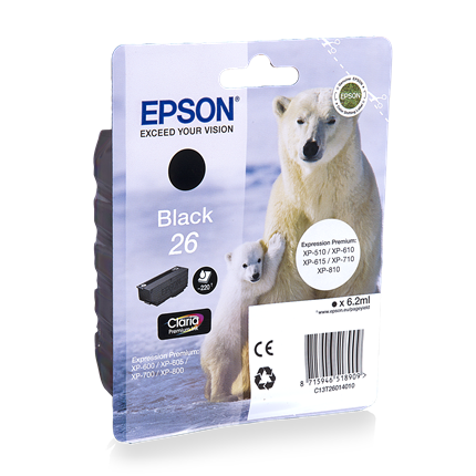 Epson Cartridge 26 (T2601) Zwart