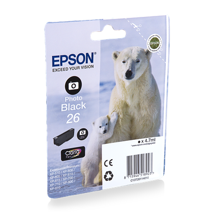 Epson Cartridge 26 (T2611) Foto Zwart