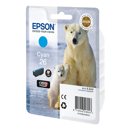 Epson Cartridge 26 (T2612) Cyaan