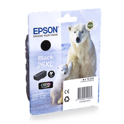 Epson Cartridge 26 XL (T2621) Zwart