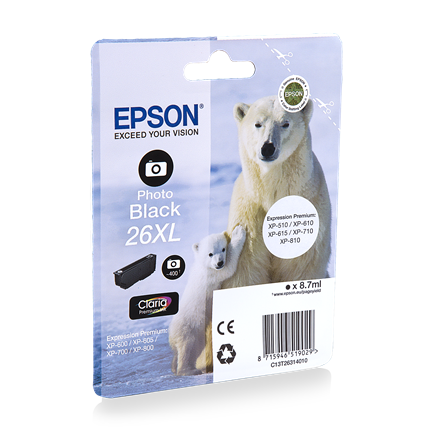 Epson Cartridge 26 XL (T2631) Foto Zwart