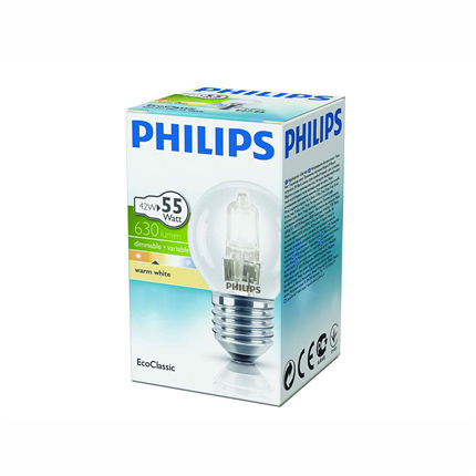 Philips Halogeenlamp E27 42W 630Lm kogel