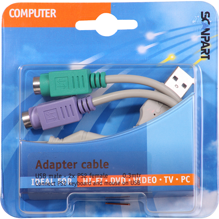Scanpart Adapterkabel Usb(M)-2X Ps/2(F) 0,3m