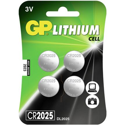 GP CR2025 4 stuks Knoopcel Lithium Batterij