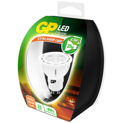 ledlamp GU10 4,5W reflector extra warm