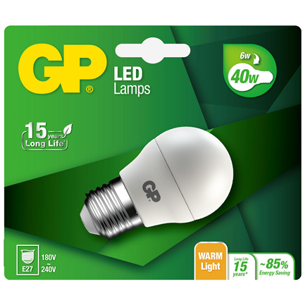 GP Ledlamp Mini Globe E27 6W
