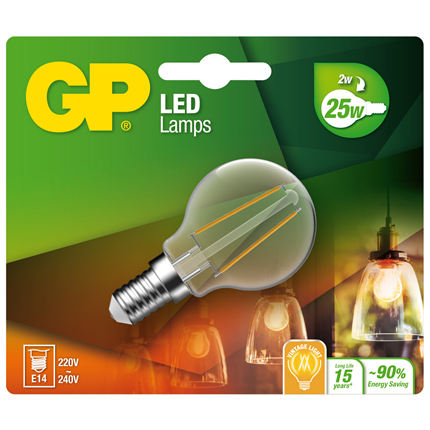Gp Led Lamp E14 2,3W 250Lm Kogel Filament