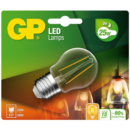 GP Ledlamp Mini Globe E27 2W Filament