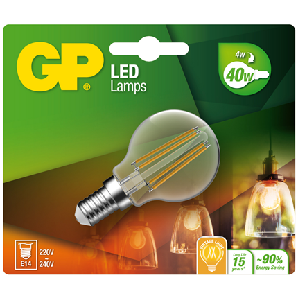 Gp Led Lamp E14 4,4W 470Lm Kogel Filament