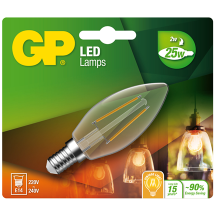 GP Ledlamp Mini Candle E14 2W Filament