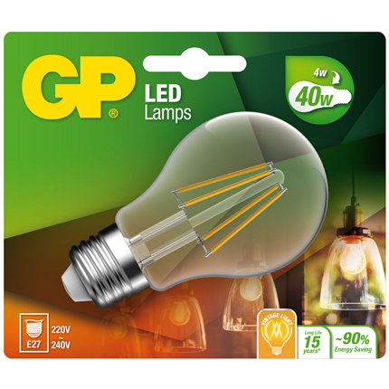 Gp Led Lamp E27 4W 470Lm Classic Filament