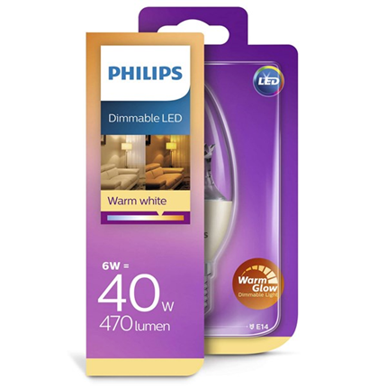 Philips Led Lamp E14 6W 470lm Kaars Helder Dimbaar