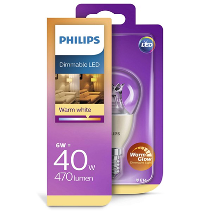 Philips Led Lamp E14 6W 470lm Kogel Helder Dimbaar