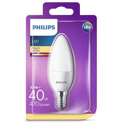 Philips Led Lamp E14 5,5W 470lm Kaars Mat