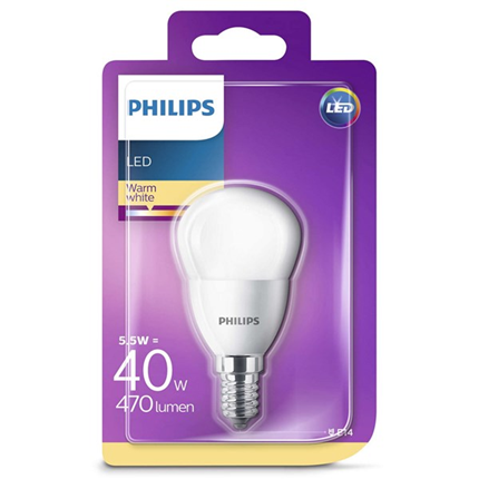 Philips Led Lamp E14 5,5W 470lm Kogel Mat