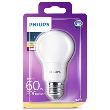 Philips Led Lamp E27 8W 806lm Kogel Mat