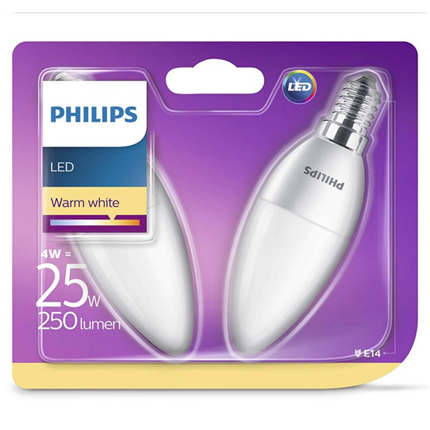 Philips Led Lamp E4 4W 250lm Kaars Mat 2 Stuks