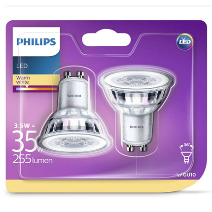 Philips Led Lamp Gu10 3,5W 255lm Reflector 2 Stuks