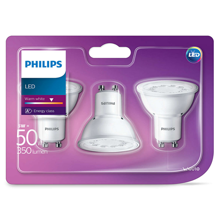 Philips Led Lamp Gu10 5W 350lm Reflector Wit 3 Stuks