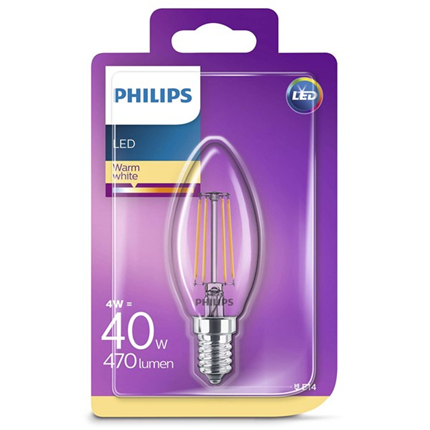 Philips Led Lamp E14 4W 470lm Kaars Filament