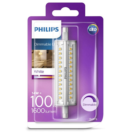 Philips Led Lamp R7S 118mm 14W 1600lm Staaf Dimbaar