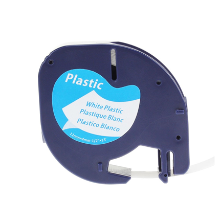 Dymo Alternatief LT Plastic Labels Wit-Zwart 12mm