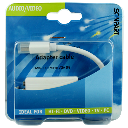Scanpart Adapter Kabel Mini DisplayPort (M) - VGA (F) Wit