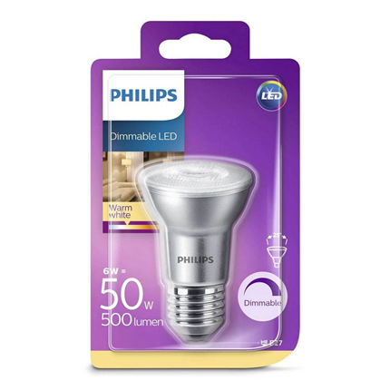 Philips LED Lamp E27 6W PAR20 Dimbaar