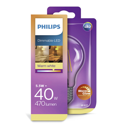 Philips LED Lamp E27 5,5W Dimbaar