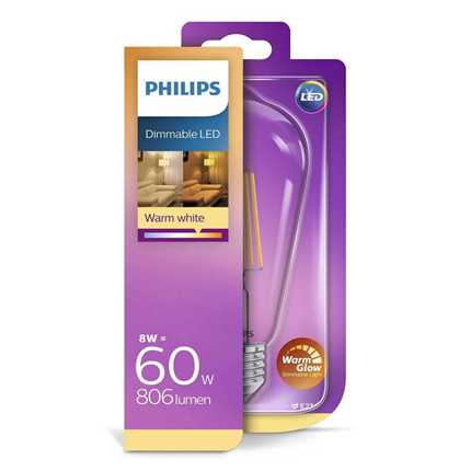 Philips LED Lamp E27 8W Dimbaar