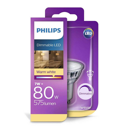 Philips LED Lamp GU10 7W Dimbaar