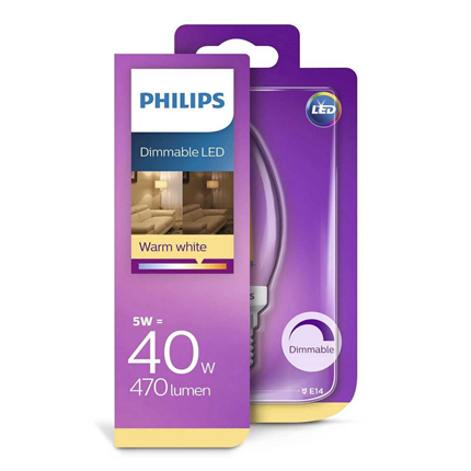 Philips LED Lamp E14 5W Dimbaar