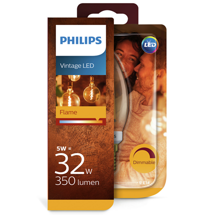 Philips LED lamp E14 5W Flame