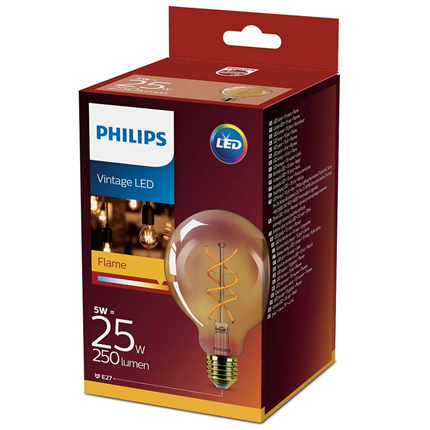 Philips LED Lamp E27 5W Flame Vintage Bol