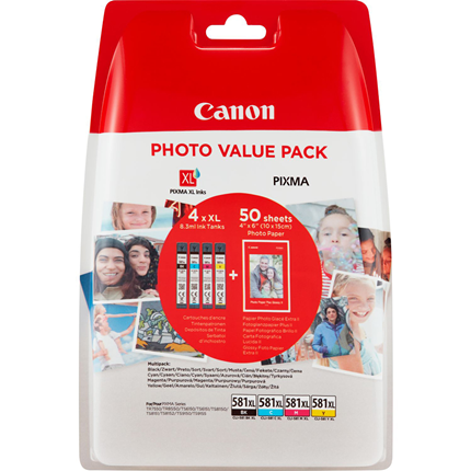 Canon Cartridge CLI-581 XL Multipack + 50 vellen fotopapier
