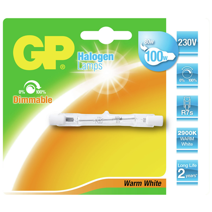 GP Halogeenlamp R7S 80W Linear 78 mm
